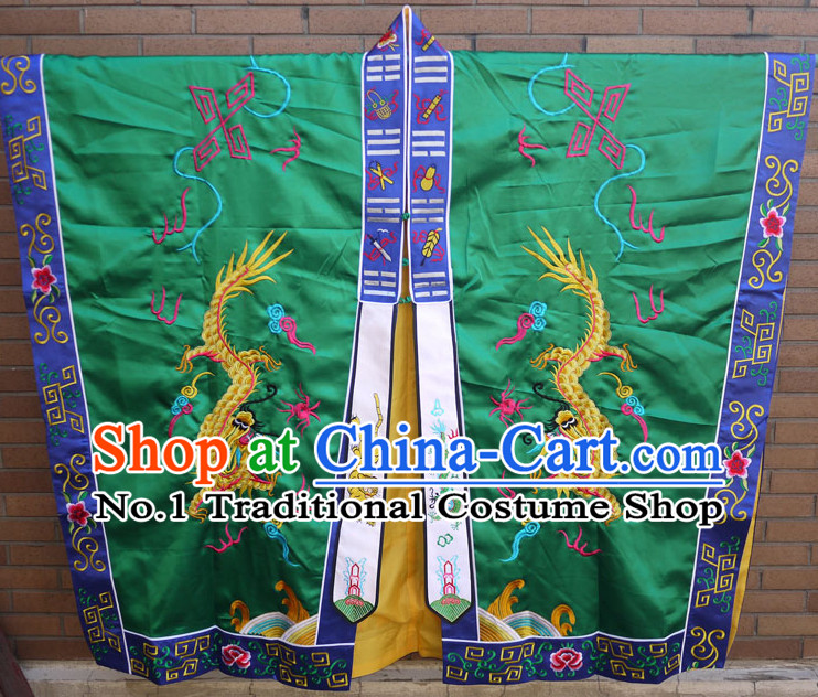 China Green Wudang Mountain Taoist Robe Complete Set for Men