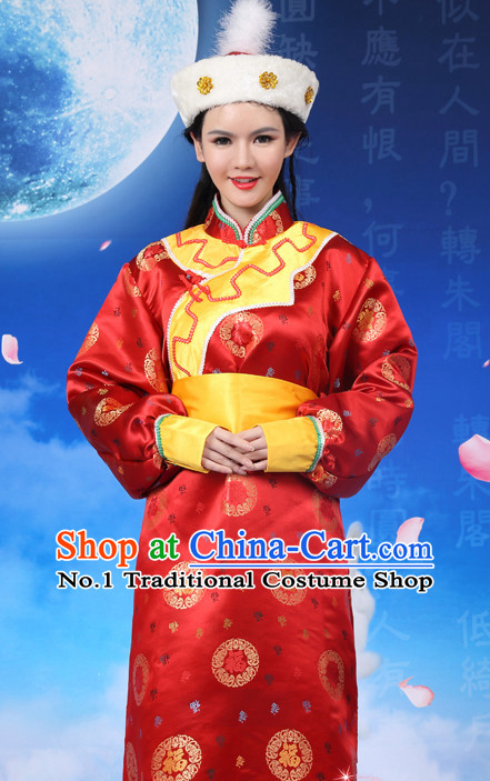 Chinese Traditional Mongolilan Dance Costumes and Hat Complete Set for Women