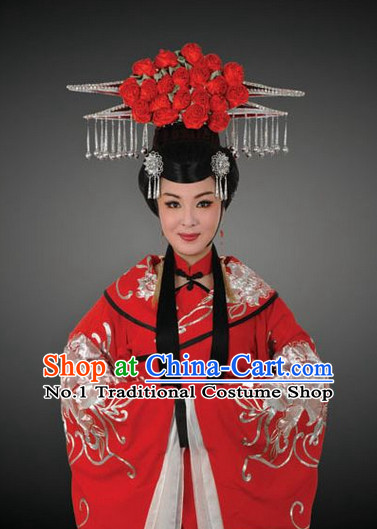 Asian Chinese Traditional Dress Theatrical Costumes Ancient Chinese Clothing Opera Empress Wedding Costumes and Hair Accessories