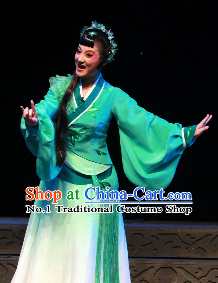 Chinese Traditional Dresses Theatrical Costumes Ancient Chinese Hanfu Tea Plucking Lady Costumes and Hair Accessories
