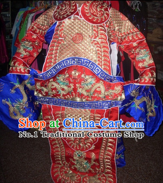 Red Ancient Chinese Beijing Opera General Male Armor Costumes Complete Set for Men