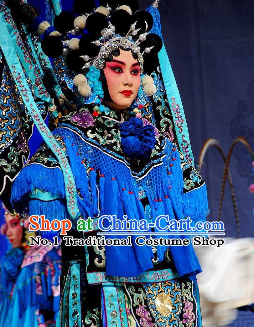 Ancient Chinese Beijing Opera Wu Dan Wu Tan Armor Costumes and Hair Accessories Complete Set for Women