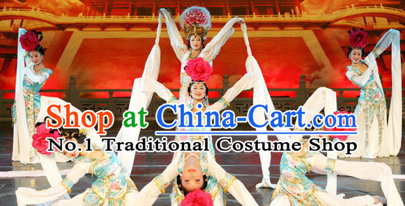 Ancient Chinese Classical Palace Water Sleeves Dance Costumes and Hair Accessories Complete Set