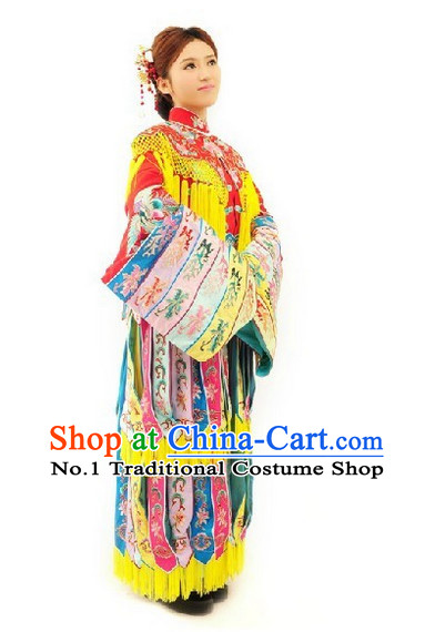 Traditional Chinese Peking Opera Phoenix Empress Costumes and Hair Jewelry Complete Set for Women