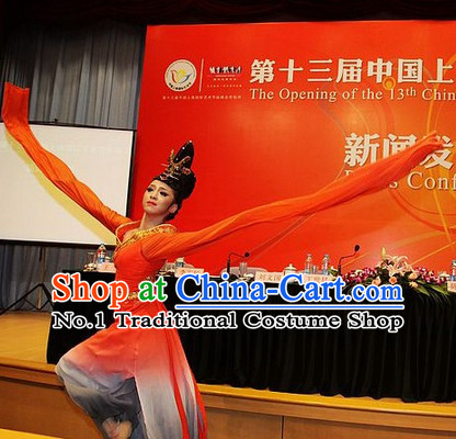 Color Transition Chinese Classical Dancewear and Hair Accessories Complete Set