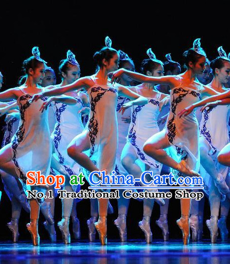 Asia Fashion Chinese Group Dance Costumes Dance Apparel and Headwear Complete Set for Girls