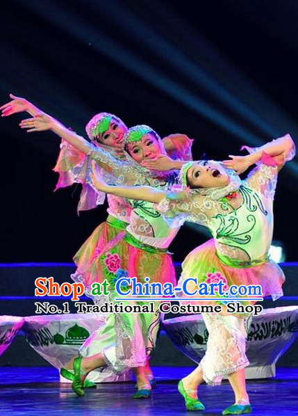 Chinese Folk Hui Nationality Dancewear Costumes and Headwear Complete Set for Women