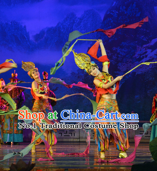 Chinese Fairs Fly in Sky Flying Fairs of Dunhuang Mural Dance Costumes and Hair Accessories Complete Set