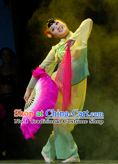 Beijing Dance Academy Chinese Folk Dance Exam Fan Dancing Costumes