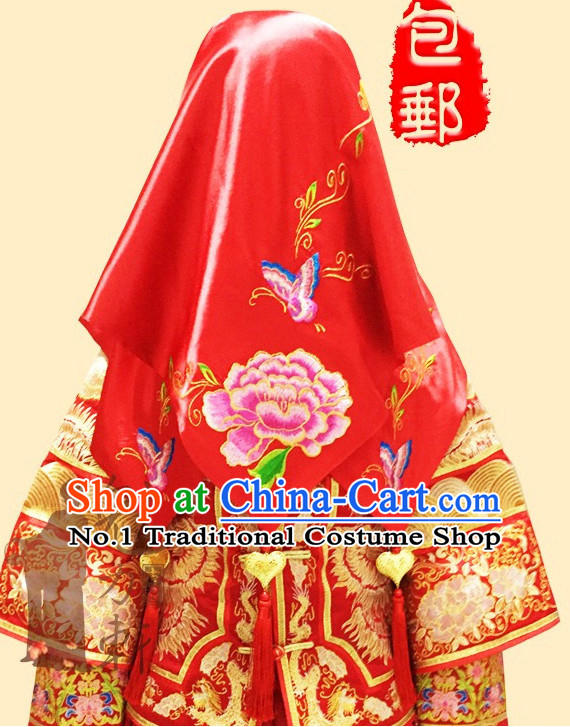 Traditional Chinese Red Wedding Cloth Hair Decorations
