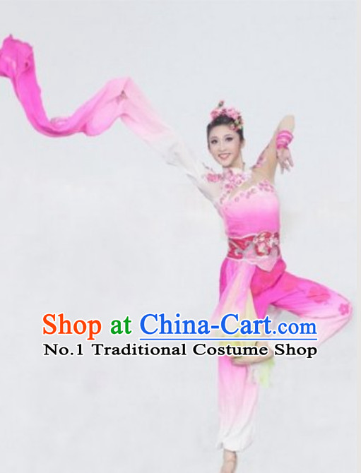 Chinese Classical Cherry Blossom Fairy Dance Costumes and Hair Accessories Complete Set