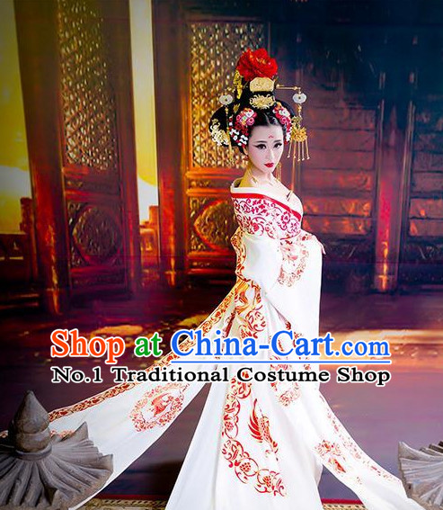 Chinese Classical Tang Dynasty Empress Phoenix Clothes and Hair Accessories for Women
