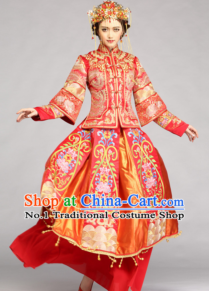 Top Traditional Chinese Ceremonial Wedding Dress and Hair Accessories Complete Set for Brides