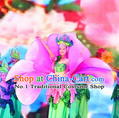 Flower Shape Traditional Chinese Dance Costumes and Headpieces Complete Set