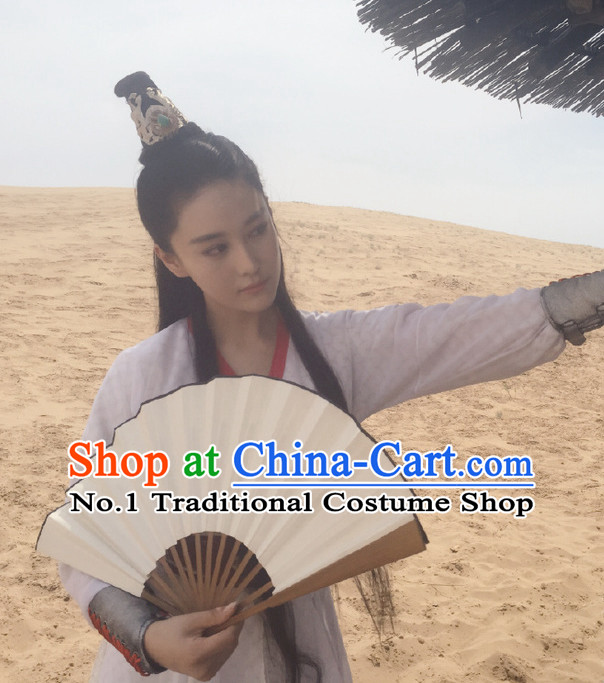 Ancient Chinese Black Long Swordswoman Wigs