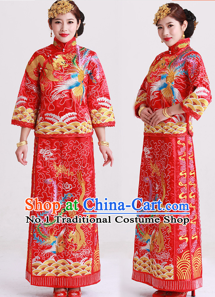 Phoenix Embroidery Chinese Wedding Garment and Hair Accessories Complete Set for Brides