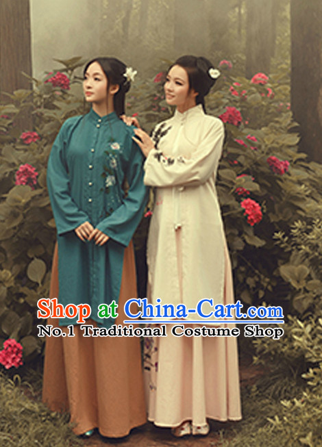 Traditional Chinese Minguo Time Hanfu Dress Ancient Chinese Dress Clothing and Hair Accessories Complete Set for Women