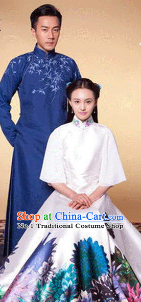 Traditional Chinese Long Mandarin Robe for Men