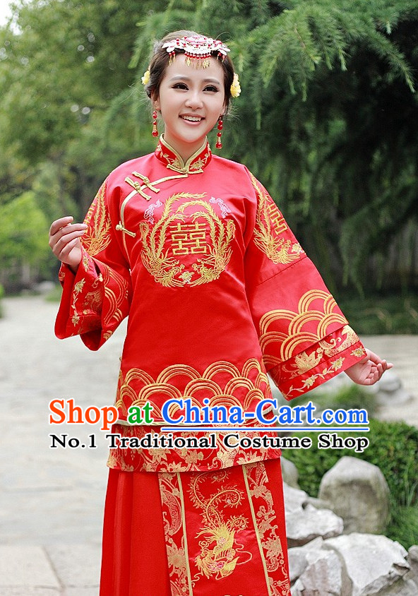 Traditional Chinese Double Happiness Wedding Dress for Women