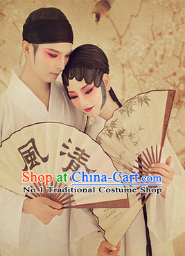 Traditional Chinese Photo Costume Pure White Costumes and Hair Accessories for Men or Women