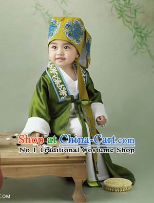 Traditional Chinese Photo Costume Landlord Costumes and Hat Complete Set for Children