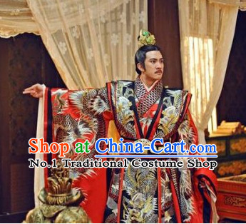 Traditional Chinese Emperor Dragon Robe and Crown Complete Set for Men