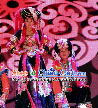 Traditional Chinese Ethnic Costumes and Hat Complete Set for Women