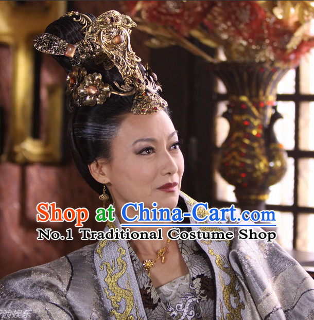 Handmade Chinese Palace Wu Zetian Female Emperor Tang Dynasty Wigs and Hair Accessories