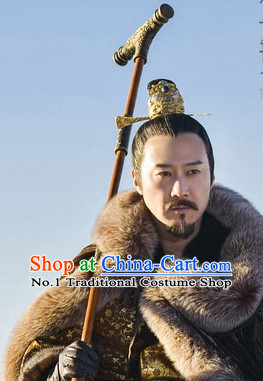 Handmade Chinese Palace Emperor Black Wig and Hair Accessories