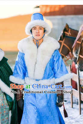 Traditional Chinese Prince Clothes Costumes and Hat Complete Set for Men