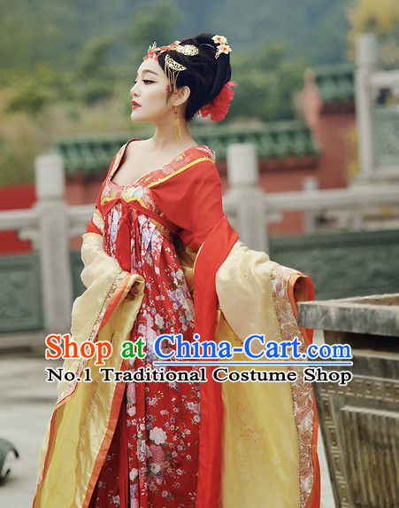 Traditional Chinese Tang Dynasty Costumes and Hair Accessories Complete Set for Women