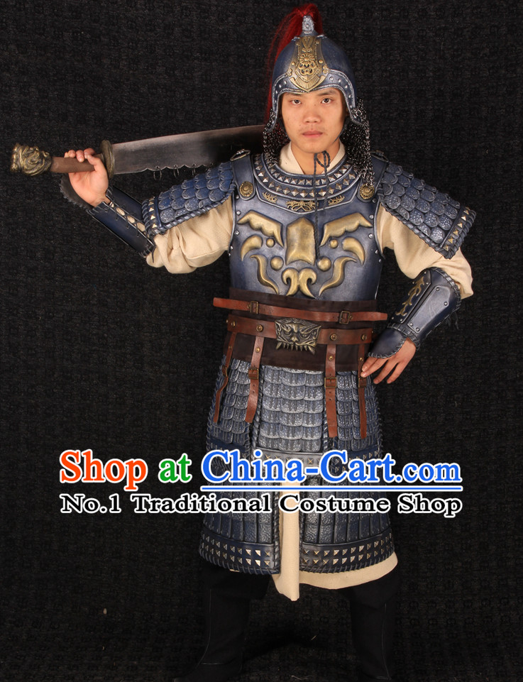 Chinese Halloween Cosplay General Armor Costumes and Helmet Complete Set for Men