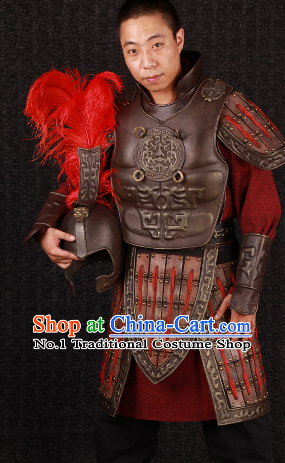 Ancient Chinese Superhero General Armor Clothing Suit and Helmet Complete Set for Men