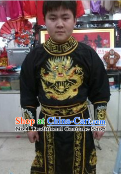 Ancient Chinese Black Dragon Embroidered Suit Complete Set for Men