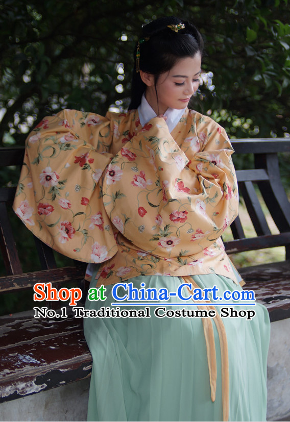 Orange Ancient Chinese Oriental Winter Noblewoman Suit and Hair Accessories Complete Set