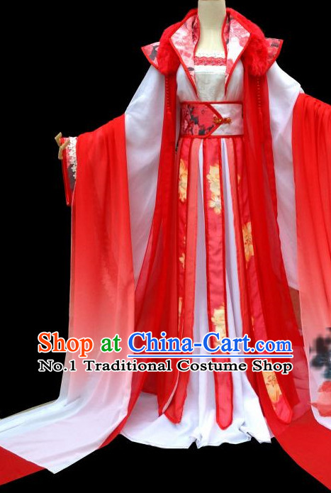 Red Romantic Ancient Chinese Princess Wedding Dress Complete Set for Women