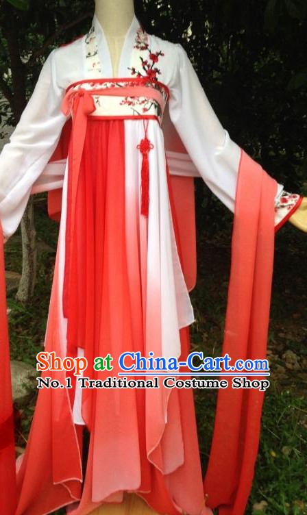 Red Ancient Chinese Dancer Costumes Complete Set for Women