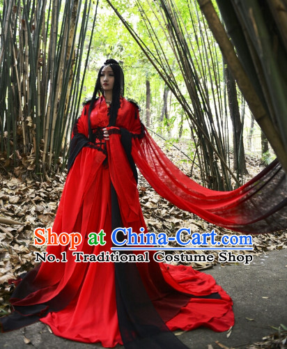 Red Long Trail Ancient Chinese Princess Costumes Complete Set for Women