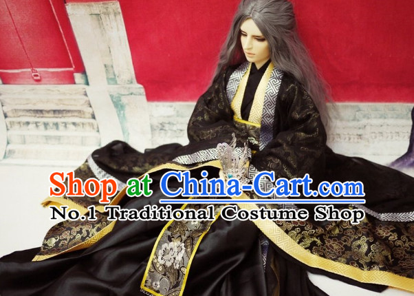 Black Traditional Chinese Swordsman Costumes and Long Wigs Complete Set for Men