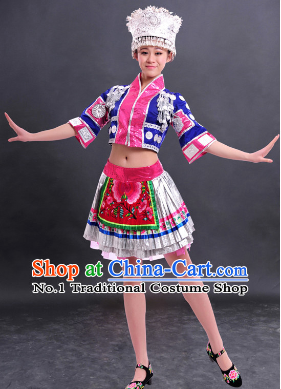 Traditional Chinese Miao Clothes and Hat Complete Set for Women