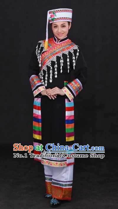 Traditional Chinese Ethnic Lahu Nationality People Folk Dresses and Hat Complete Set for Women