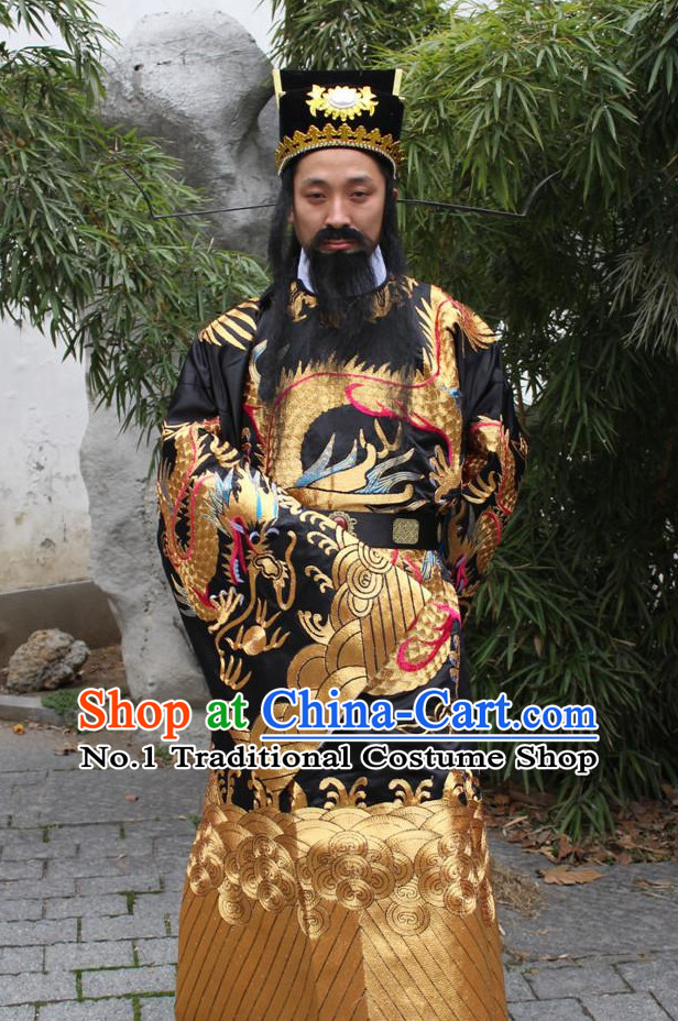 China Palace Bao Gong Judge Costumes and Hat Complete Set for Men