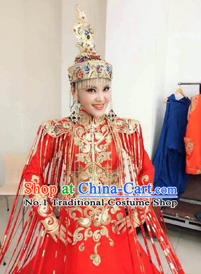 Mongolian Empress Queen Wedding Dress and Hair Accessories Complete Set