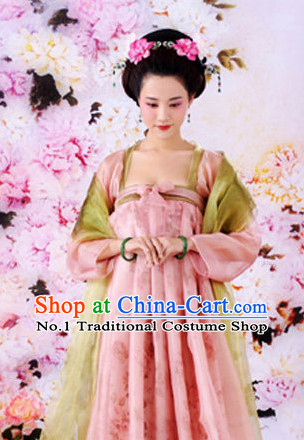 Ancient Chinese Tang Dynasty Clothing and Hair Accessories Complete Set for Women