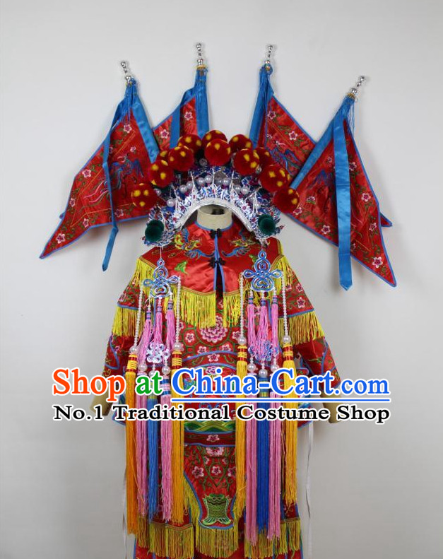 Chinese Ancient Mu Guiying Armor Costumes and Hat Complete Set for Kids