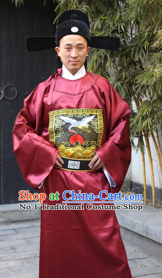 Chinese Ancient Emperor Costumes and Hat Complete Set for Men