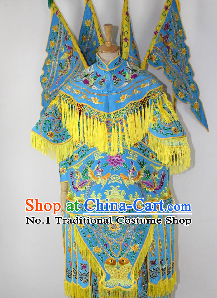 Chinese Ancient Wu Tan Costumes and Hat Complete Set for Kids