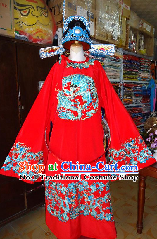 Chinese Ancient Official Costumes and Hat Complete Set for Kids