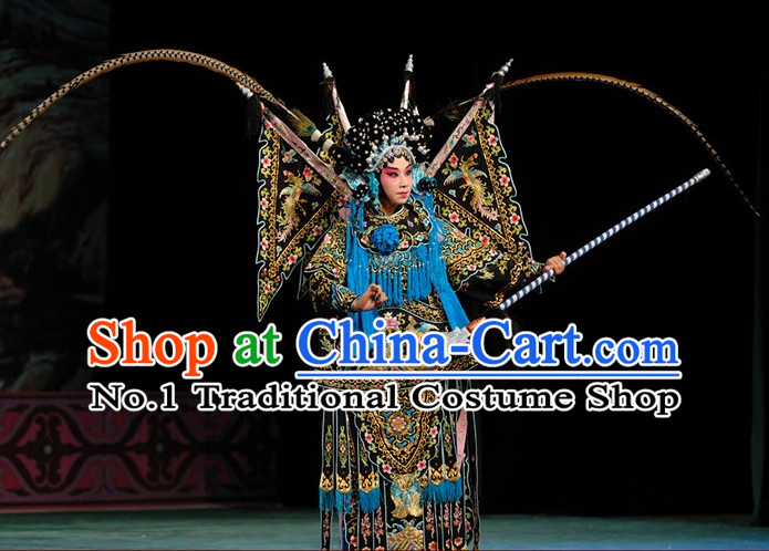 Black Chinese Traditonal Beijing Opera Wu Tan Costumes and Helmet Complete Set