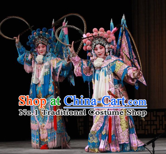 Chinese Traditonal Beijing Opera Wu Tan Costumes and Helmet Complete Set